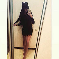Красивое платье с французским кружевом черное
