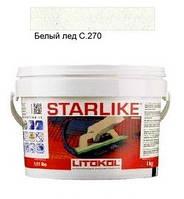 Litokol Starlike C.270 ведро 1 кг (белый лед), эпоксидная двухкомпонентная затирка Старлайк Литокол