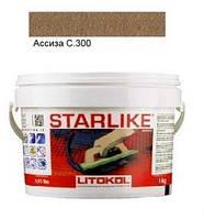 Litokol Starlike C.300 ведро 1 кг (асиза), эпоксидная двухкомпонентная затирка Старлайк Литокол