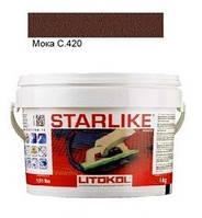 Litokol Starlike C.420 ведро 1 кг (мока), эпоксидная двухкомпонентная затирка Старлайк Литокол