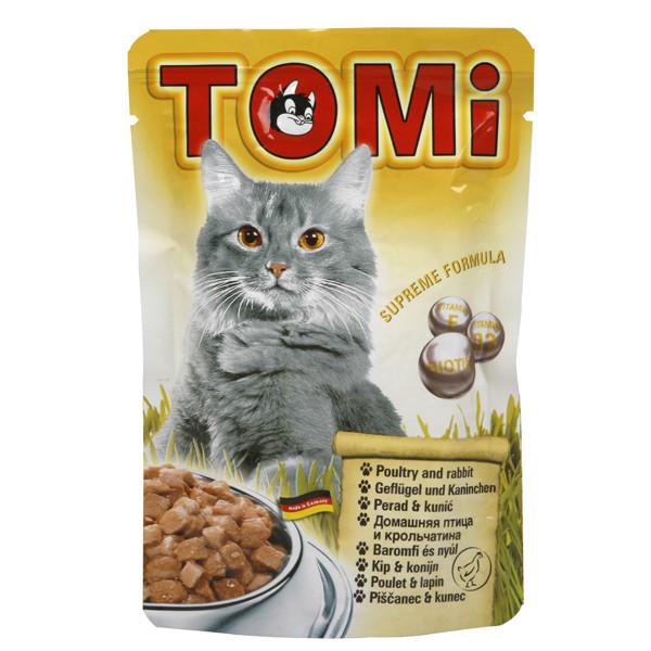 TOMi poultry rabbit ПТИЦА КРОЛИК консервы для кошек, влажный корм, пауч