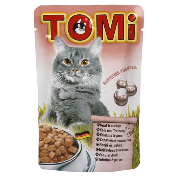 TOMi veal turkey МЯСО ИНДЕЙКА консервы для кошек, влажный корм, пауч