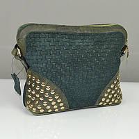 Зеленая кожаная сумочка Viladi с заклепками