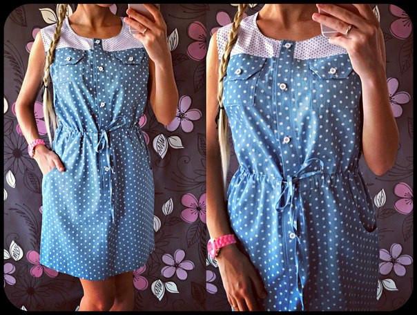 Джинсовое платье с хебешной вставкой