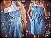 Джинсовое платье с хебешной вставкой, фото 2