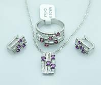 Роскошный комплект женской бижутерии. Женские кулоны, кольца и серьги в комплекте. 213