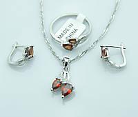 Комплект бижутерии с янтарными камнями. Серёжки, кулон на цепочке и кольцо оптом. 218
