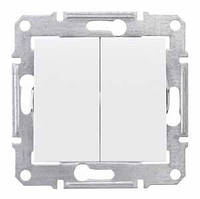 Двоклавішний вимикач 10А білий Sedna SDN0300121 Schneider