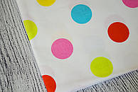 Лоскут ткани №151  с разноцветным горохом на белом фоне