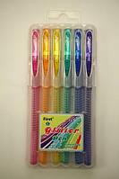 Ручки в наборе 6цв. First гелевые с блестками F919-6