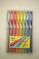 Ручки в наборе 8цв. First гелевые с блестками F919-8