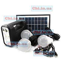 GDLite GD-8017 зарядное устройство cо встроенным фонариком, солнечная батарея, 3 светодиодные лампочки