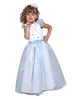 Платье нарядное детское летнее с пышным подъюбником М -914 рост 110 116 122  128 белое-голубое, фото 1
