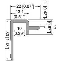 Профиль 0490 алюминиевый Slam-Lid System с полкой  для крышки