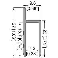 Профиль 0631 дверной h-образный алюминиевый с пазом 7,2мм
