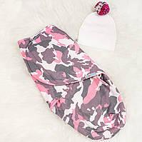 Пеленки на липучке теплые (Камуфляж розовый) 0-3 мес
