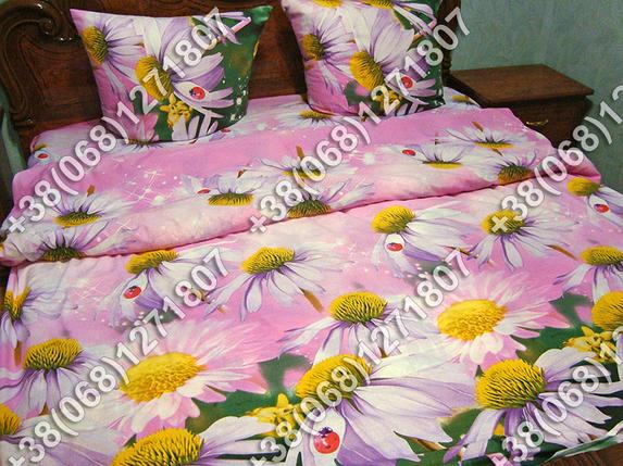 Постельное белье Эхинацея на розовом ранфорс двуспальный комплект, фото 2