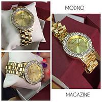 Женские красивые часы под золото с камнями