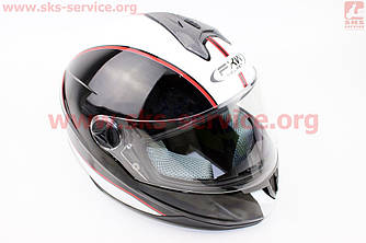 Шлем закрытый HF-122 S- ЧЕРНЫЙ глянец с белой полосой