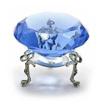 Кристалл синий на подставке, диаметр 6 см