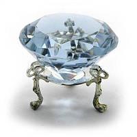 Кристалл голубой на подставке, диаметр 6 см