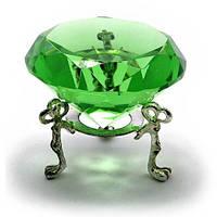Кристалл зелёный на подставке, диаметр 6 см