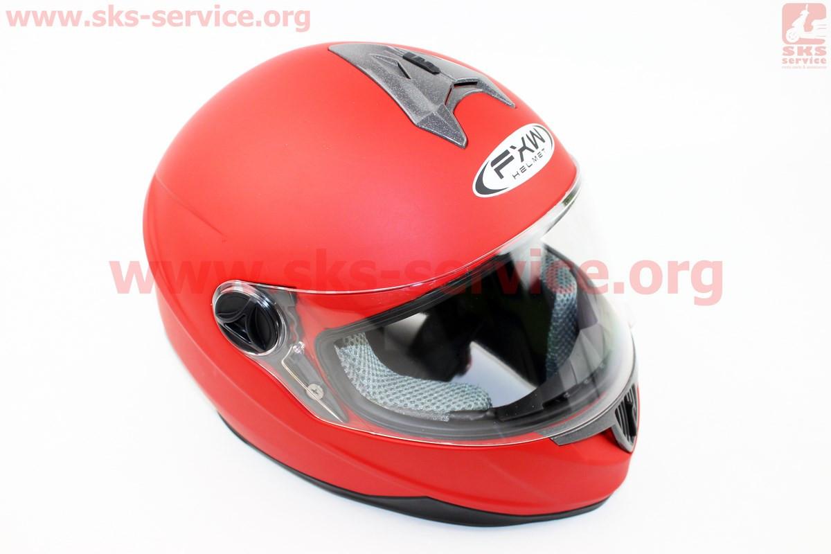 Шлем закрытый HF-122 XL- КРАСНЫЙ матовый
