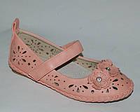 Туфли для девочек Эльффей Мышонок арт.3412-7А розовый.цветы (Размеры: 24-31)