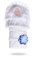 """Конверт- одеяло на выписку новорожденного """"Дебют голубые лепестки"""". Конверт з вуаллю"""