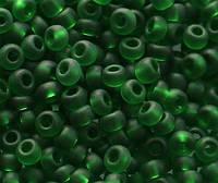 Бісер Preciosa Чехія №50120 matt1г, насичений зелений, прозорий, матовий