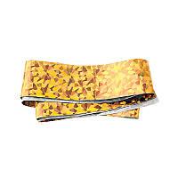 Фольга для ногтей переводная, для литья, золото голограмма осколки №4 длина 50 см. ширина 2,5 см.