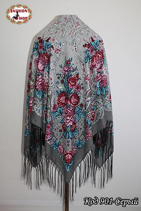 Павлопосадский серый платок Алессия, фото 2