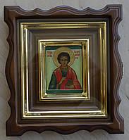 Киот для иконы-миниатюры фигурный из ольхи с деревянной рамкой и золочёными штапиками., фото 1