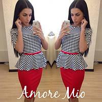 Костюм стильный модный юбка с баской в разных цветах SML102