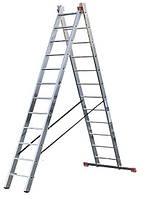 Лестница алюминиевая 2-х секционная по 8 ступенек Тритон