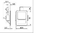 Замок 2485c стальной хромированный врезной 42,5*56мм, фото 1