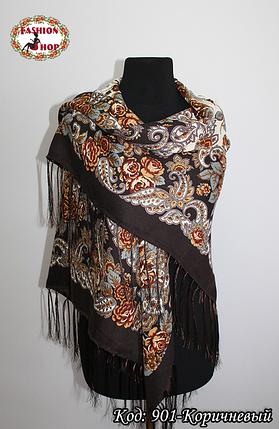 Павлопосадский коричневый платок Алессия, фото 2