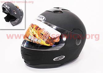 Шлем закрытый с откидным подбородком HF-108 M- ЧЕРНЫЙ матовый