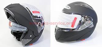 Шлем закрытый с откидным подбородком+очки HF-118 S- ЧЕРНЫЙ матовый код 330090