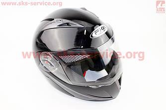 Шлем закрытый с откидным подбородком+очки HF-118 S- ЧЕРНЫЙ глянец