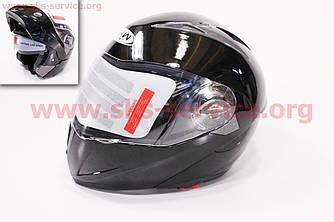 Шлем закрытый с откидным подбородком+очки HF-118 М- ЧЕРНЫЙ глянец