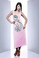 Длинное платье с оригинальным принтом