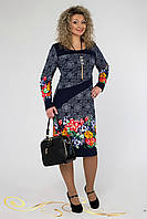 Темно-синее легкое платье с ярким цветочным принтом.