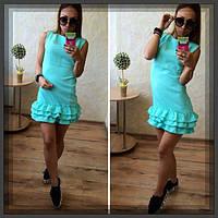 Платье молодёжное с воланами по низу юбки (4 цвета)