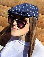 Дизайнерская джинсовая кепка с якорьками, фото 1