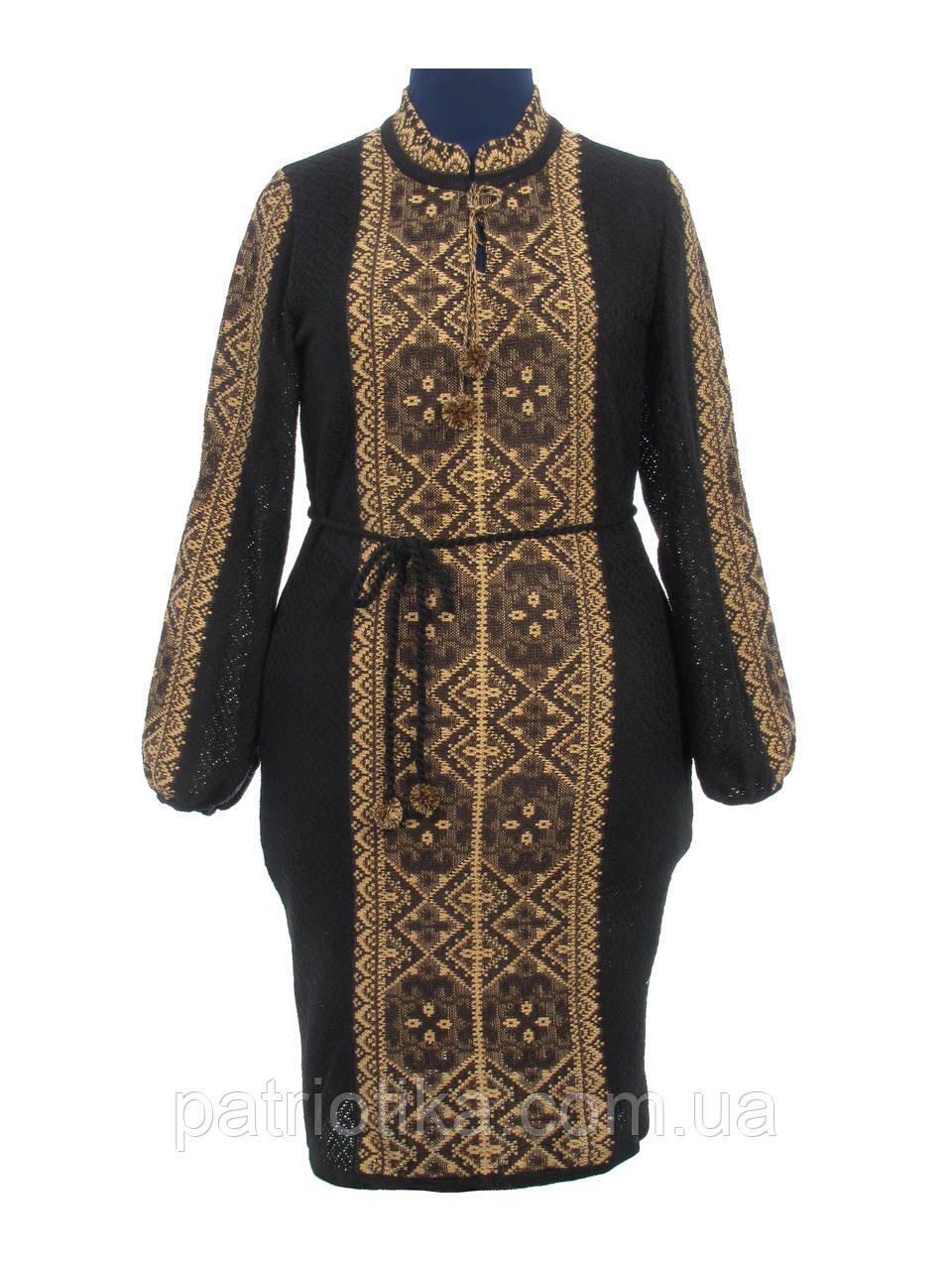 Вязаное платье Влада коричневая х/б   В'язане плаття Влада коричнева х/б