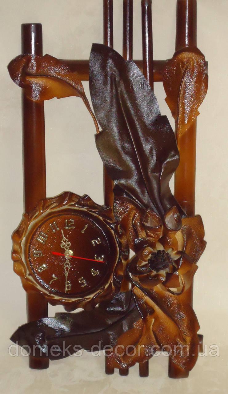 Кожаные часы настенные средние, фото 1