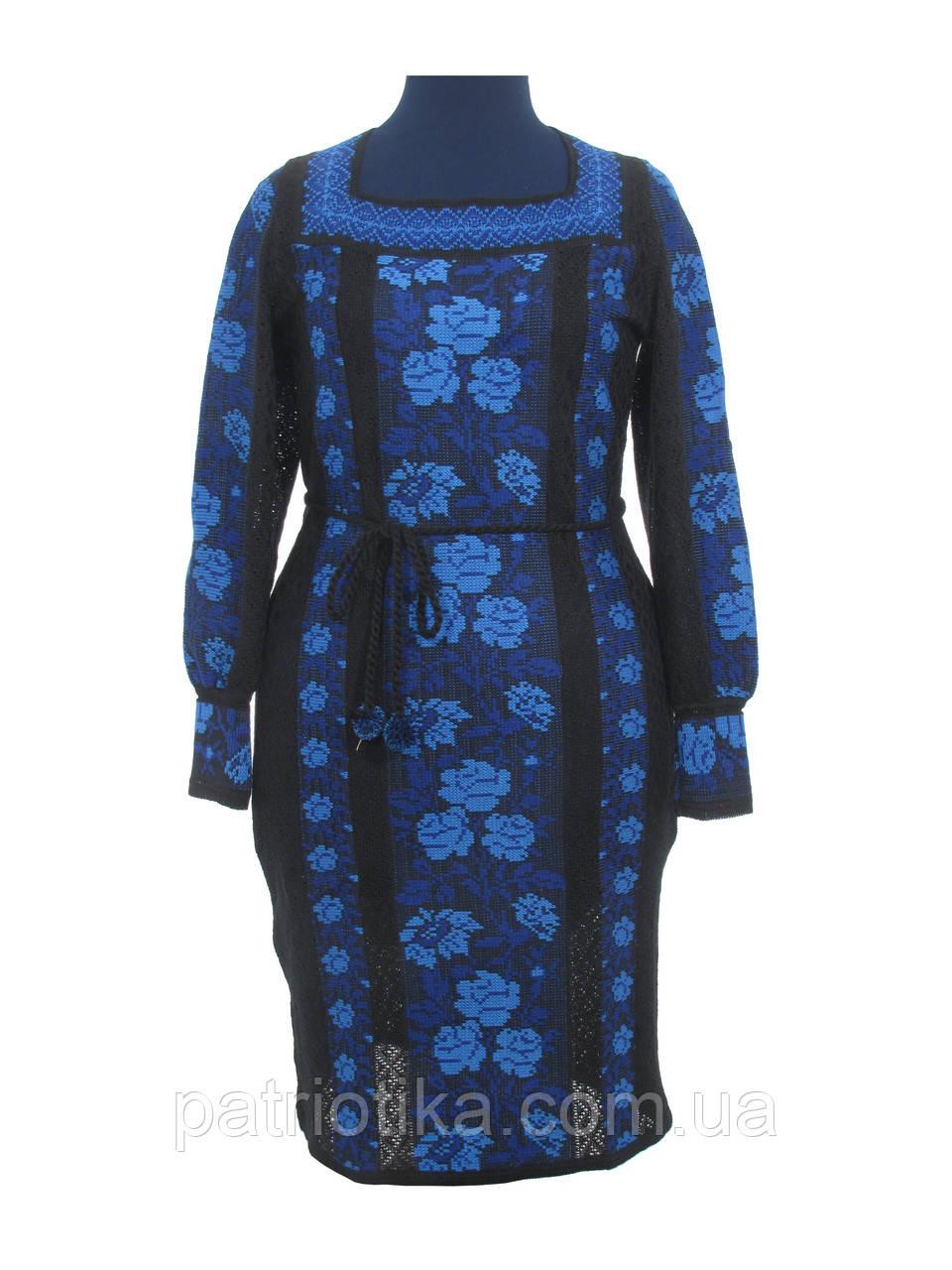 Черное вязаное платье Розы синии х/б | Чорне в'язане плаття Троянди сині х/б