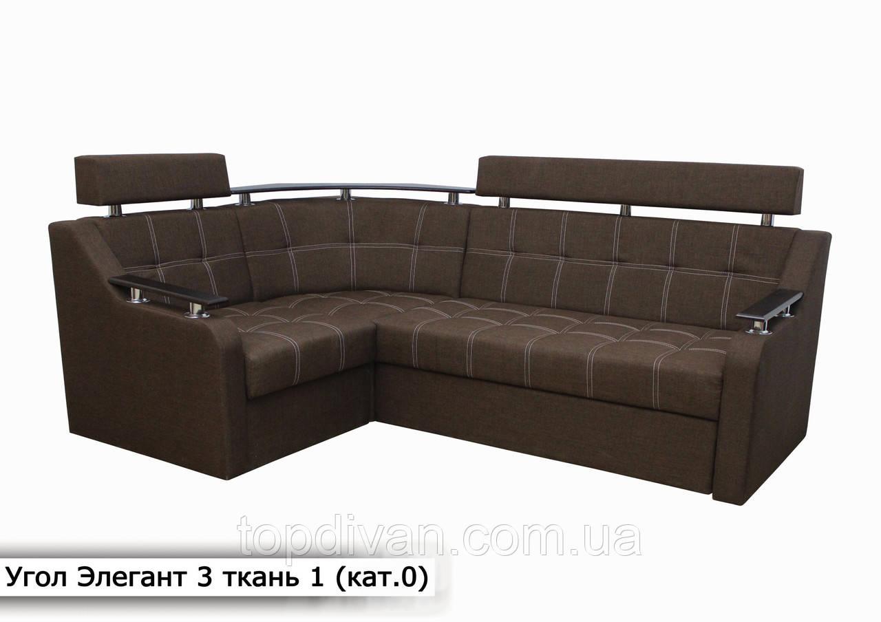 """Угловой диван """" Элегант 3 люкс """" (Savana Brown 08) (Угол взаимозаменяемый)"""
