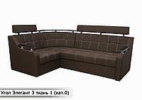 """Угловой диван """" Элегант 3 люкс """" (Savana Brown 08) (Угол взаимозаменяемый), фото 1"""